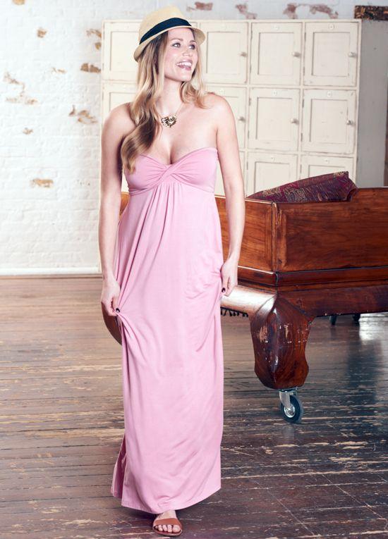 Queen Bee Calista Pink Maternity Nursing Maxi Dress by Floressa Clothing