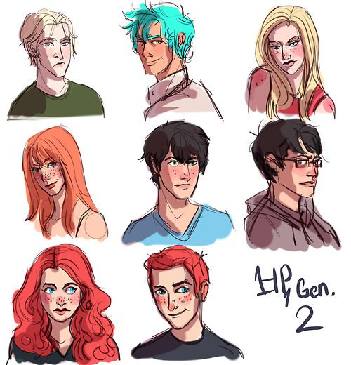 """""""Woo, HP next gen. ( well, the ones mentioned in the epilogue) So from top left, we have Scorpius, Teddy, Victorie, Lily, Albus, James,Rose & finally Hugo :)"""" by burstinglight on tumblr"""