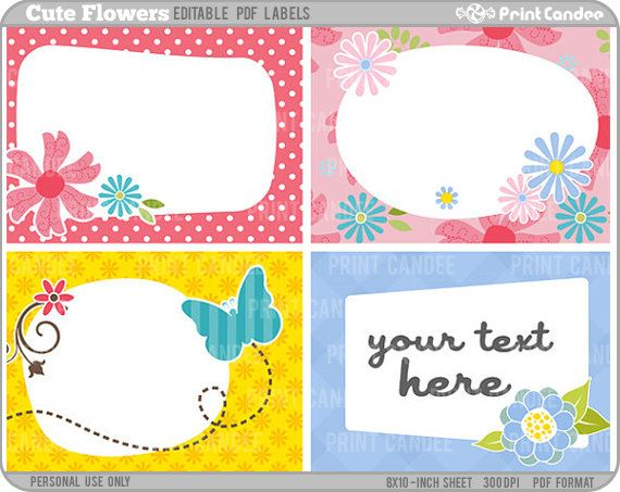 Cute Tags: Editable PDF (8x10) Cute Flowers Labels (No