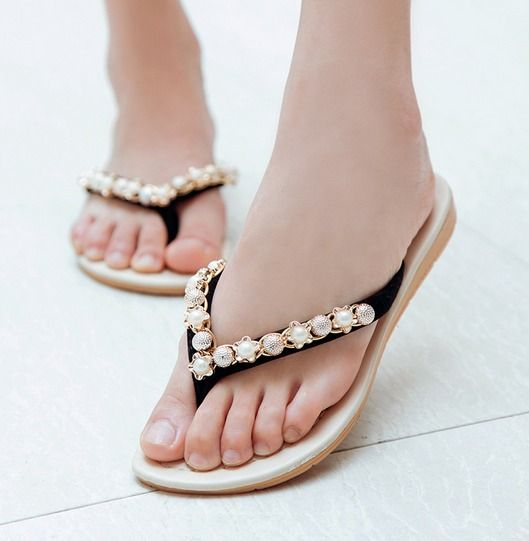 New Fashion Women Ladies Pearl Flip Flops Summer Sandals Flats Shoes | Clothing, Shoes & Accessories, Women's Shoes, Sandals & Flip Flops | eBay!