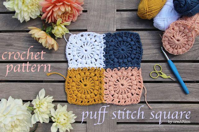 Crochet Square With Puff Stitch ~ Tutorial - creJJtion