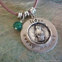 Handstamped affirmation word charm pendant- Love Every Moment   handmade with love  Noosa