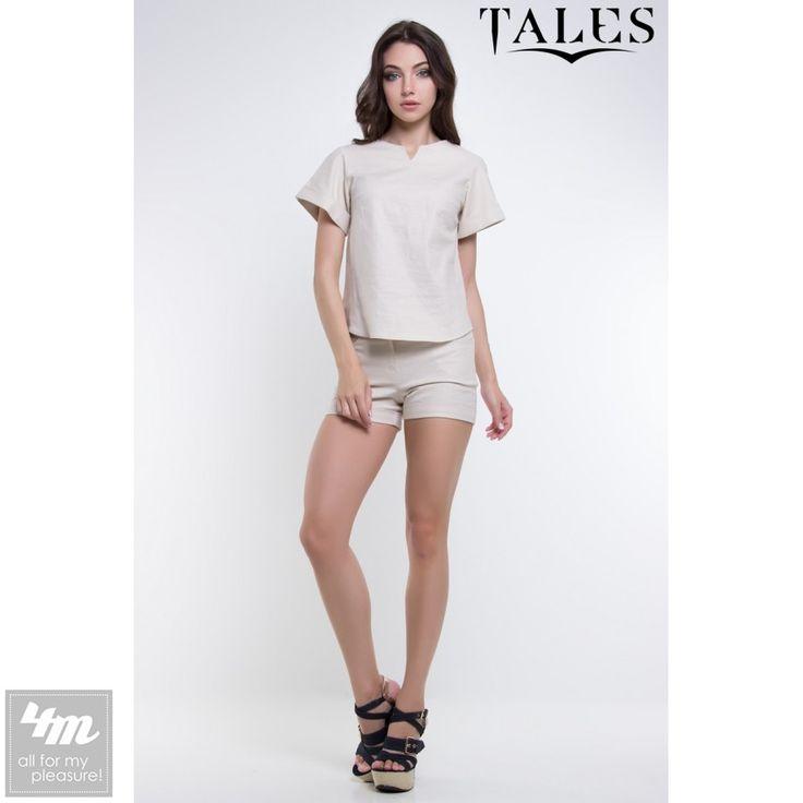 Костюм Tales «Spark» (Бежевый) http://lnk.al/4uW4  Материал: Лен Костюм состоит из блузы-кимоно полуприталеного силуэта с круглым вырезом горловины декорированрым v-образным разрезом по центру полки. И классических шорт с карманами с отрезным бочком, поясом и манжетами по низу  #женскийкостюм #стильнаяодежда #стильныевещи #наряд #одеждаУкраина #4m #4mcomua