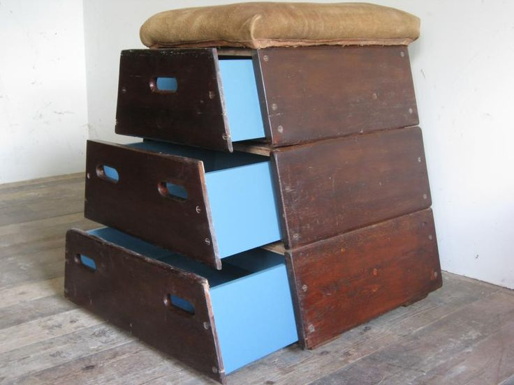 RECRAFT + UPCYCLED : SMALL VINTAGE GYM HORSE CHESTS OF DRAWERS - They can be dismantled by simply lifting each section off its locating blocks. - Roughly half the length of a full size vaulting horse. - The drawers are made of ply with ply bases, painted a blue colour. - Original suede tops.