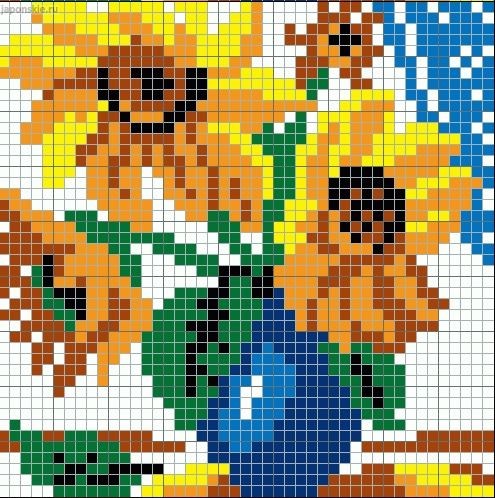 Sunflowers in a vase pattern / chart for cross stitch, knitting, knotting, beading, weaving, pixel art, and other crafting projects.