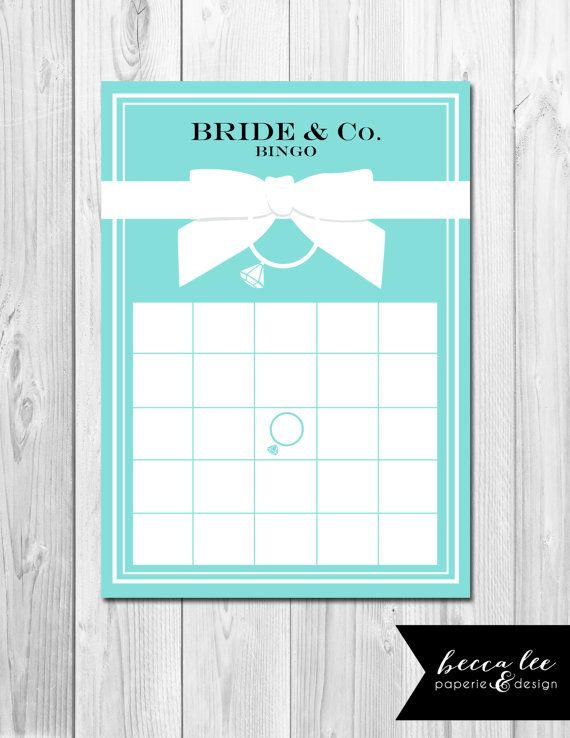 Instant Download Bride Amp Co Bingo Tiffany Inspired