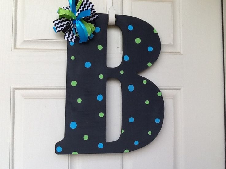 Large Painted Initial Painted Letter Monogram Painted Initial Door Wreath Door Decor Housewares Home Decor