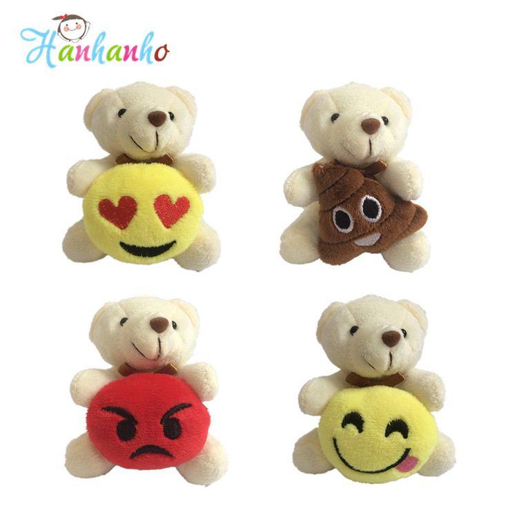 Hanhanho Wholesale 12pcs/Lot Mini Plush Bear Emoticon with Metal Key Ring Stuffed Animal Small Pendant //Price: $US $21.98 & FREE Shipping //     #toys