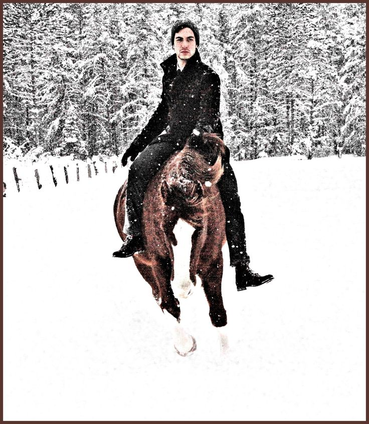 Man and horse bareback.  Winter in Ontario.