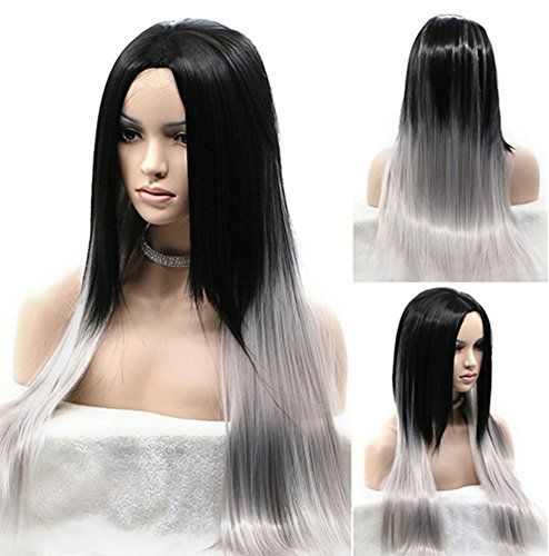 Diy Wig Trendy Ombre Black Root Gray Long Straight Fashion Gradient Heat Resistance Friendly Wigs For Women Cosplay Costume Party Use