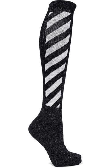 Off-White - Metallic Striped Cotton-blend Socks - Black - One size