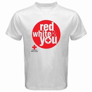 New American Red Cross Organization Logo Men s White T Shirt Size s to 3XL | eBay