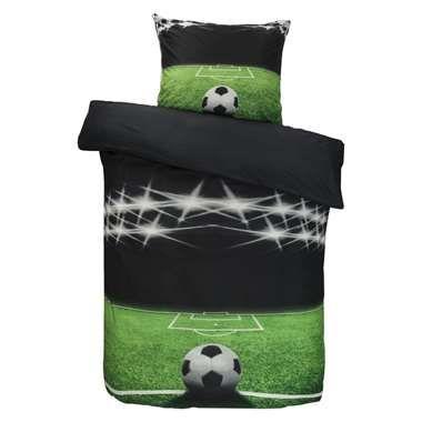 Dekbedovertrek Soccer - zwart/groen - 140x200 cm