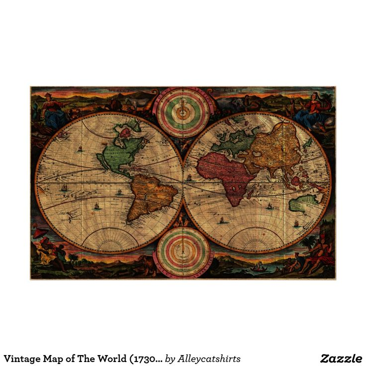 San Francisco Air Quality Map%0A Vintage Map of The World         Stylized Poster