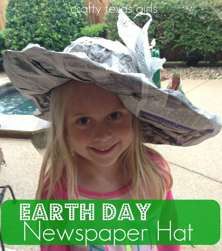 Crafty Earth Day Newspaper Hat. This site and tutorial features children, but would work as a craft for adults too, especially if the hats are painted as a second project step and decorated as a third step.