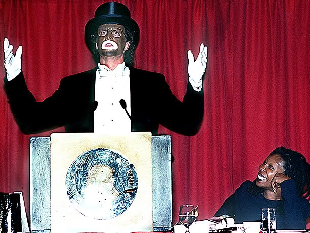 Ted Dansen (& then girlfriend,) Whoopi Goldberg #blackface //  ............So many people were offended by this show of bad taste. It's nothing to laugh at!!!!!!!!!!!!!!!