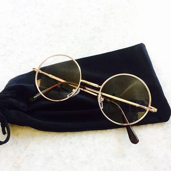 Clásico oro John Lennon lente claro redondo espectáculo