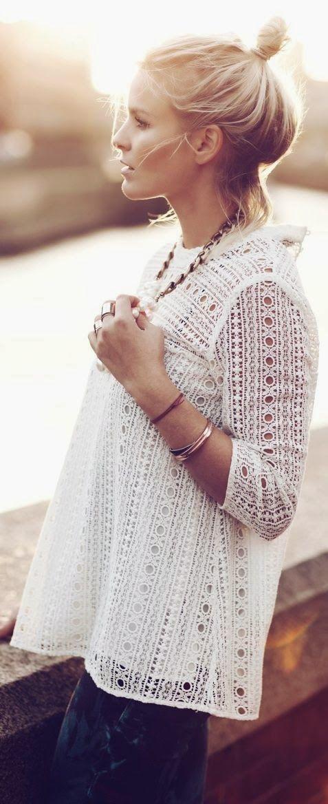 Stylish White Lace Shirt