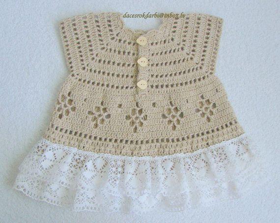 Linen crochet summer dress / tunic for the baby girl by Dachuks, $29.00