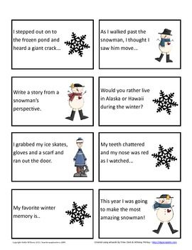 Winter Writing Prompts 64 Story Starter Task Cards