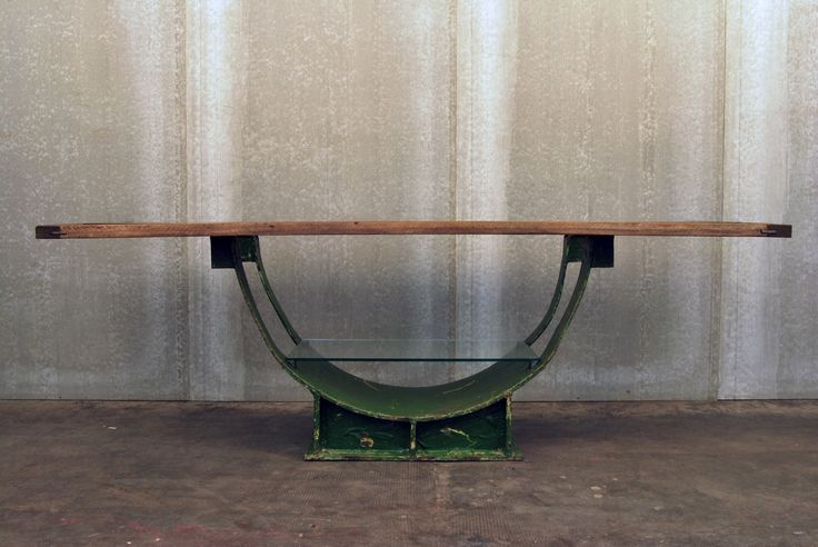 TAVOLO GRAN TORINO / GRAN TORINO TABLE Gran Torino Table made with an industrial structure with wooden top whit temperated glass insert. Orvett for Diesel