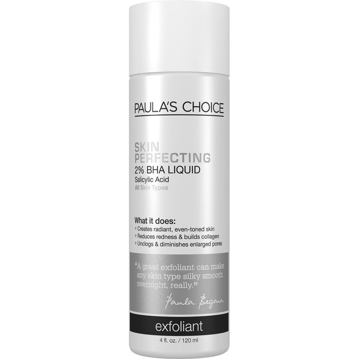 Skin Perfecting 2% BHA Liquid My favourite chemical exfoliant, a liquid BHA that helps clear clogged pores and acne. Use on a cotton pad in the evening after cleansing. 33EUR, 10EUR trial size