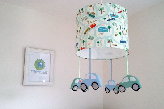 Car lampshade  Nursery lighting  Blue Green room by mobilampshades