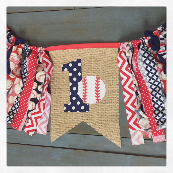 Baseball theme first birthday party decorations highchair banner for cake smash photo prop by MsRogersNeighborhood Etsy shop