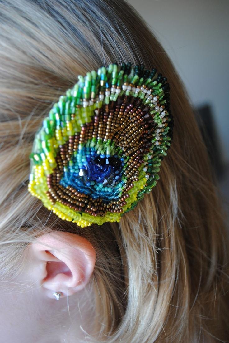 Items similar to Beaded Peacock Feather hair