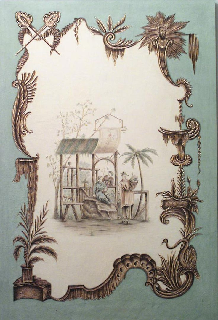 French Louis XV style (20th Century) oil on canvas celadon painting of Chinoiserie genre scenes in the style of Jean Pillement.