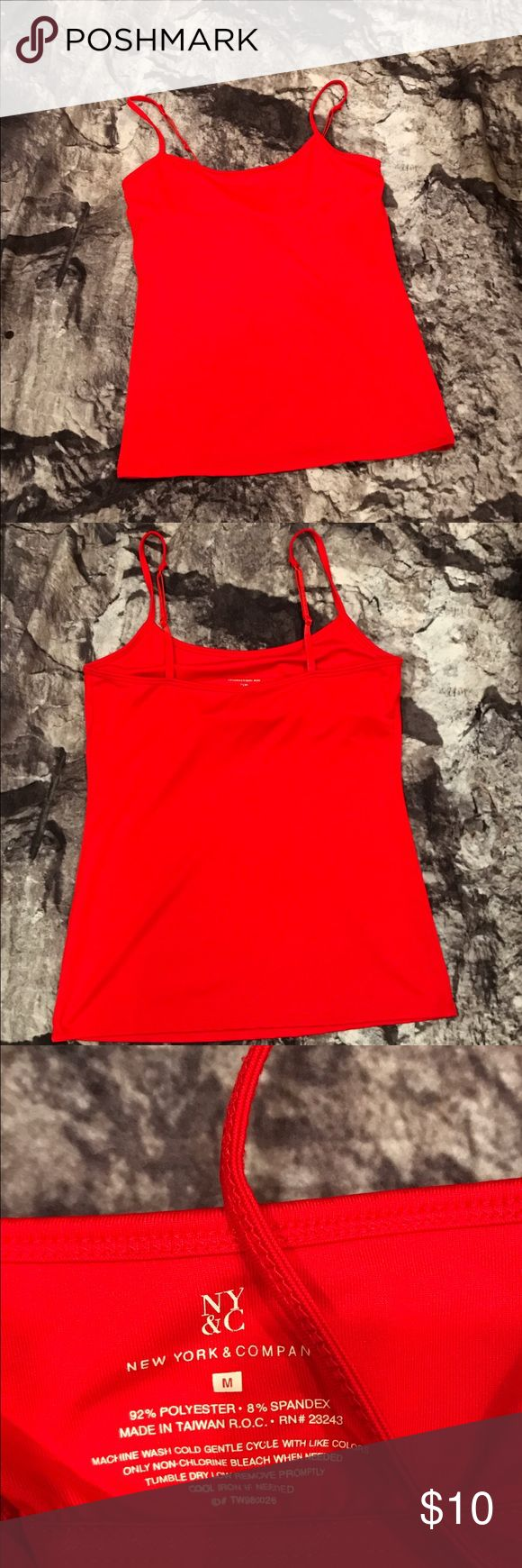 """New York & Co Bright Red Cami with Built In Bra New York & Co Bright Red Cami with Built In Bra. Length = 18"""" New York & Company Tops Camisoles"""