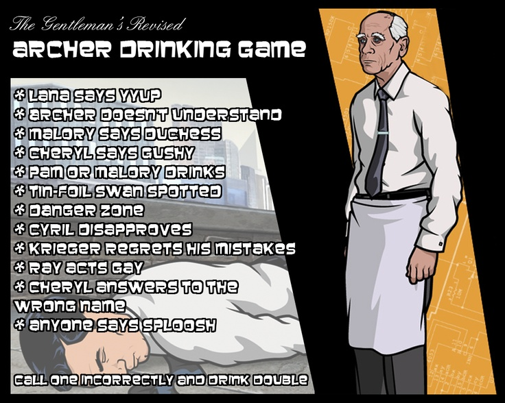 Archer Drinking Game.  If you see the show, you'll realize all these lines happen in every show, several times.!   humor funny