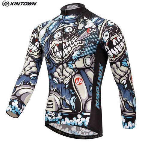 Los Hombres calientes de la Bici Larga jersey Cráneo Gris Equipo de Ciclismo  Profesional ropa Riding 3576da2e6dabd