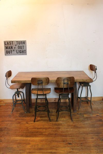 Dorset Finds Store Heavy Duty Industrial Custom Dining Table Workbench W Cast Iron