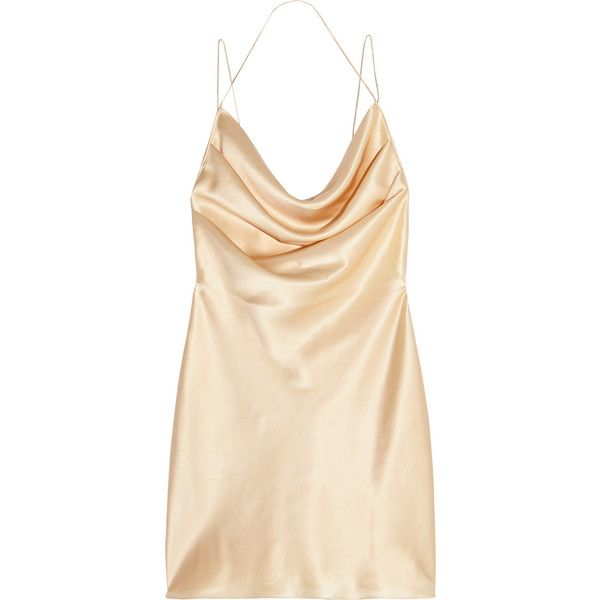Saint Laurent Silk-satin mini dress found on Polyvore featuring dresses, dresses/gowns, saint laurent, gold, draped dress, grunge dress, yves saint laurent, short spaghetti strap dress and short dresses
