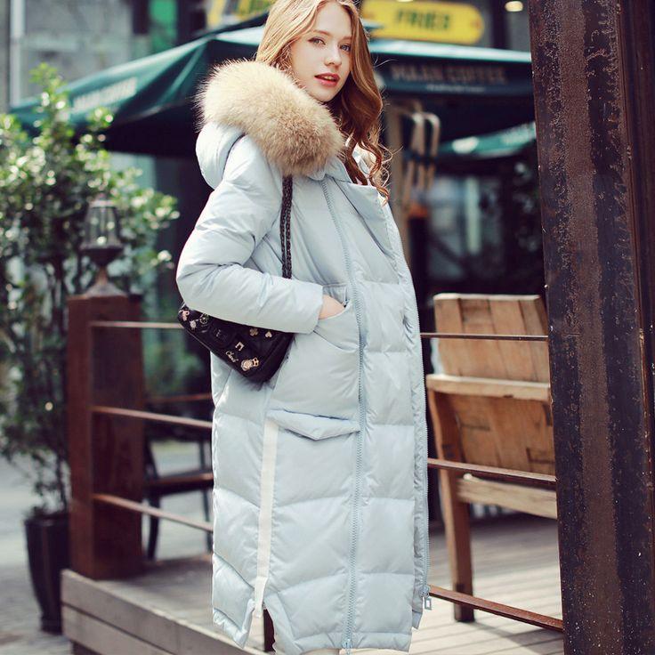 New Winter Women Down Coat Jacket Medium Length Woman Down Parka with a Raccoon Fur Winter Coat Women Plus size