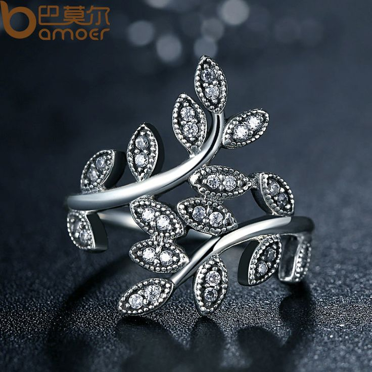 Silver Color Sparkling LEAVES SILVER RING WITH CUBIC ZIRCONIA for Women Jewelry PA7206