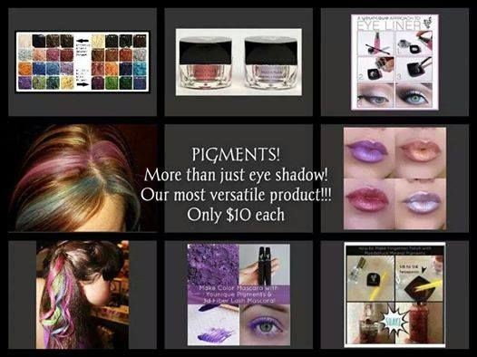 PIGMENTS - What are Pigments? Pigments are very versatile.  They are used wet or dry, as eye shadows, eye liner, brow color, lip liner, lip color, nail polish, hair chalk, and face paint.  Also, for those who like to dazzle your eye lashes, can be mixed with your mascara.  There are 32 different shades.  Pigments are $10 a piece, 4 for $35, or 8 for $65. https://www.youniqueproducts.com/LeahPhillips