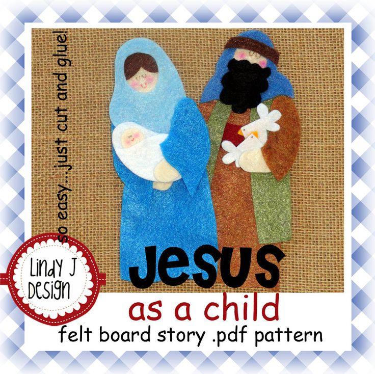 Jesus as a Child Bible Story Flannel/Felt Board .PDF Pattern. $5.00, via Etsy.