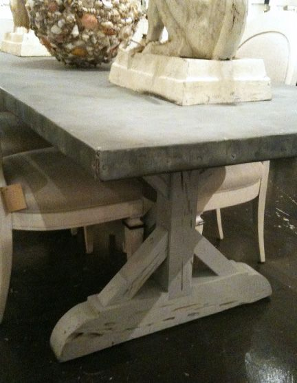 Aged Zinc Top Table LLH DESIGNS: Zinc Top Dining Table