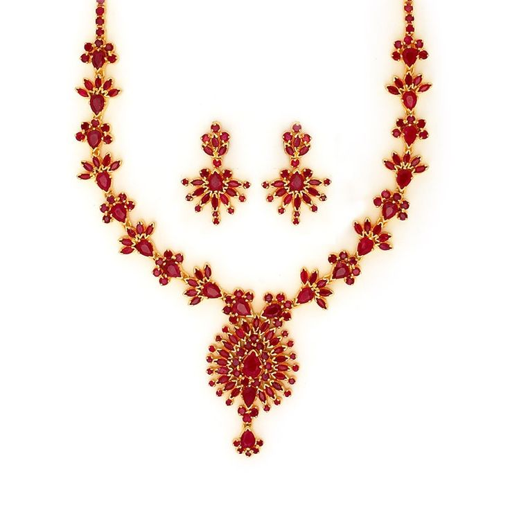 Exclusively Designed Bridal Ruby Necklace Set