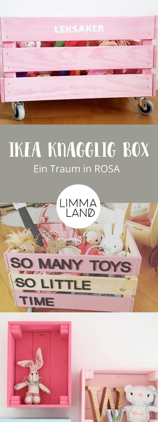 Die IKEA KNAGGLIG Box sieht fast aus wie eine Weinkiste und eignet sich prima für einen IKEA Hack für Kinder. Wir zeigen euch in unserem Blog was ihr tolles aus der Holzkiste basteln könnt. Vor allen die Ideen für das Kinderzimmer sind  total niedlich! Mit www.limmaland.com macht DIY Spaß!