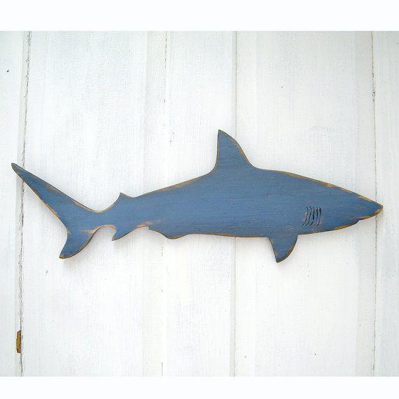 Wood Shark Sign Medium Wall Art Mako Shark Sign Beach Coastal Nautical Wooden Sign Indoor or Outdoor