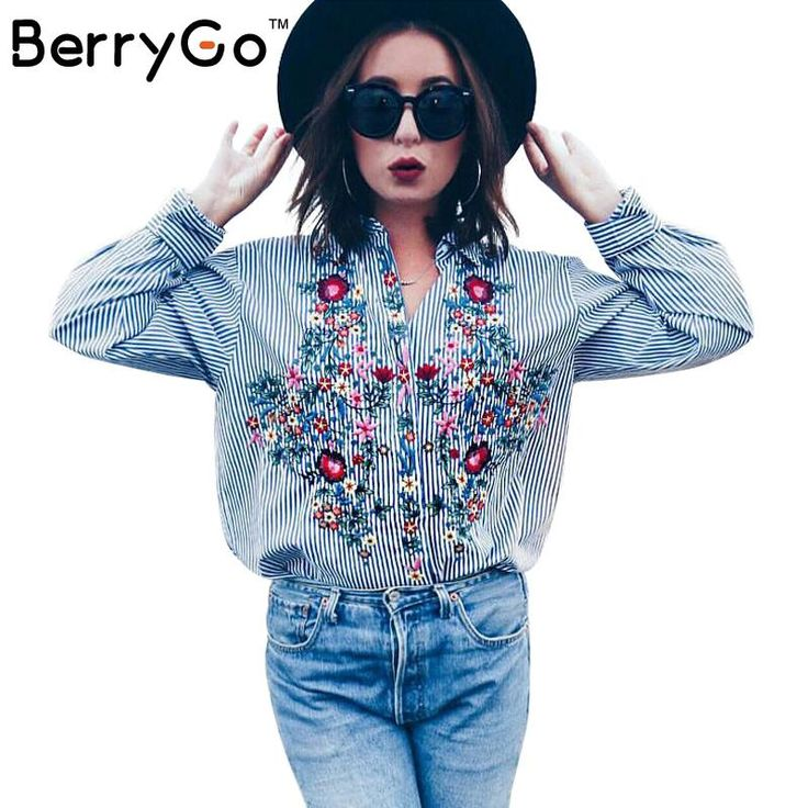 BerryGo Casual blue striped shirt 2016 autumn winter cool long sleeve blouse women tops blusas Embroidery female blouse shirt