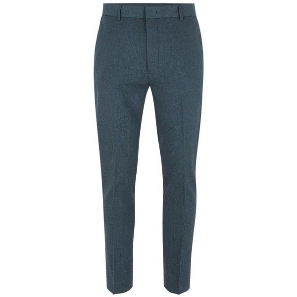 TOPMAN Blue Marl Ultra Skinny Smart Trousers ($32) ❤ liked on Polyvore featuring men's fashion, men's clothing, men's pants, men's casual pants, blue, mens blue pants, mens zipper pants, mens super skinny dress pants, mens polyester pants and mens zip off pants
