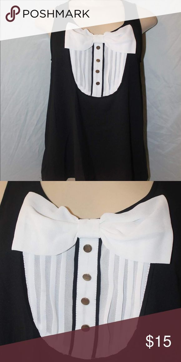 "Black bowed top Black tank top with white bow see through from the Back length-22 1/2"" Bust- 17 1/2"" Tops Tank Tops"