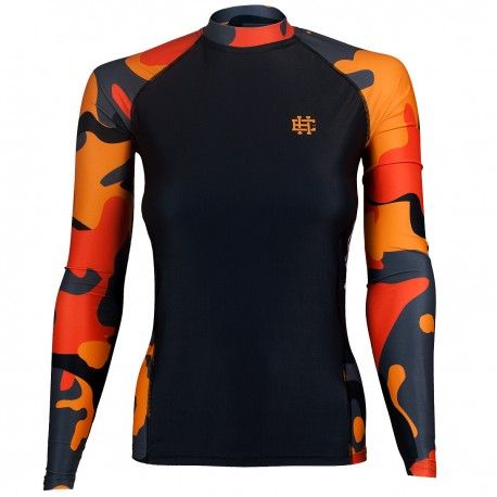 Longsleeve rashguard women WORKOUT. Color: black with orange moro. Excellent quality rashguard HOBBY EXTREME is ideal for hard training people who appreciate the highest class of products. Made of high quality material, which, thanks to its flexibility, clings to the body. Sophisticated thermoregulation system by which the body is dry and the muscles warmed up. Sublimated logos (will not scratch).