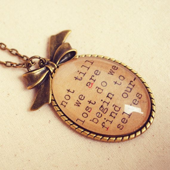 """Handmade """"Not till we are Lost do we Begin to Find Ourselves"""" Inspirational Quote Necklace"""