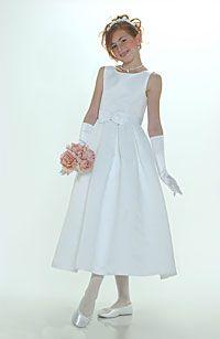 Flower Girl Dresses -Flower Girl Dress Style 547-White or Ivory Sleeveless Bridal Style All Satin Dress With Box Pleated