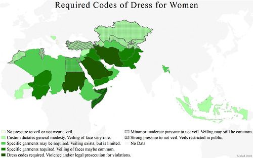 Muslim dress code laws by country in the Middle East and Asia